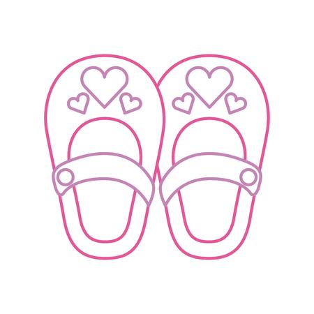Illustration pour cute girl shoes baby shower decoration celebration vector illustration - image libre de droit
