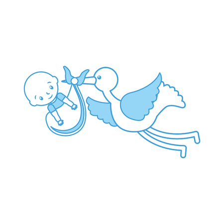 Illustration pour stork with a baby boy in a bag arrival image vector illustration - image libre de droit