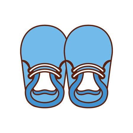 Illustration pour baby booties for boy child cute image vector illustration - image libre de droit