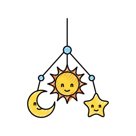 Ilustración de Newborn toy mobile for baby shower invitation vector illustration - Imagen libre de derechos