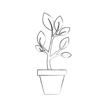 Ilustración de growing plant sprouts rising from ceramic pot concept vector illustration - Imagen libre de derechos