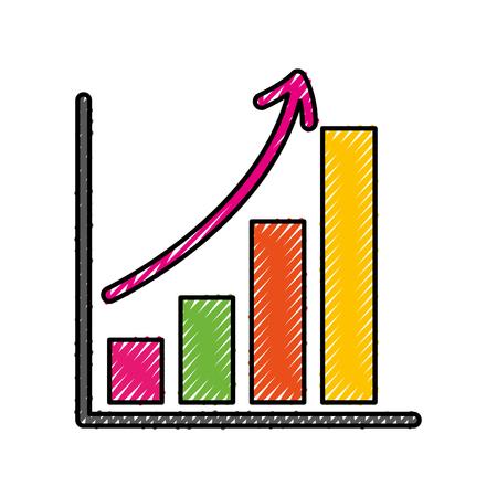 Illustration pour business growth bar graph finance increase vector illustration - image libre de droit
