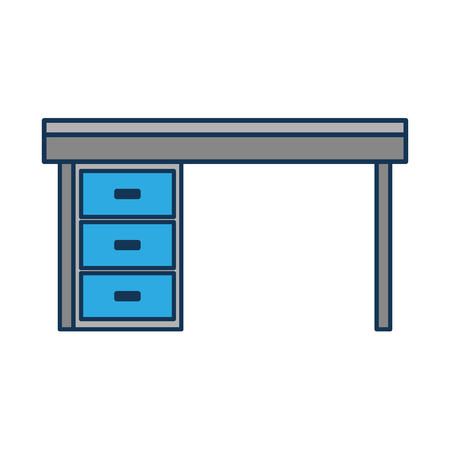 Illustration for furniture desk drawers wooden table design vector illustration - Royalty Free Image