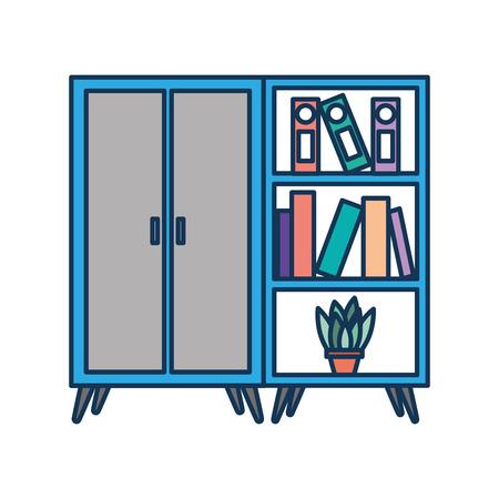 Ilustración de wooden cabinet and bookcase pot with plant vector illustration - Imagen libre de derechos