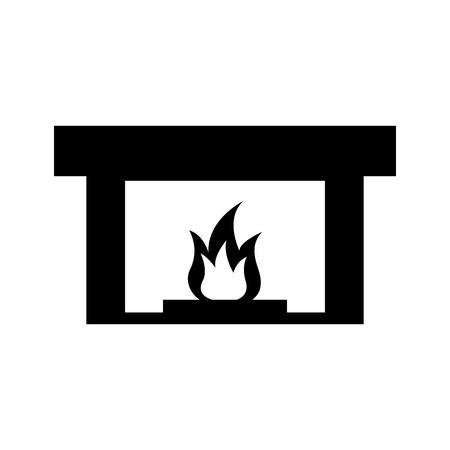 Illustration for fireplace chimney flame indoor decoration vector illustration - Royalty Free Image