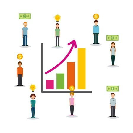 Illustration for A crowd funding people to sponsor in a  chart of finance showing increase. - Royalty Free Image