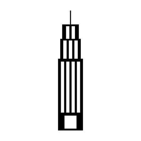 Illustration pour Black silhouette building tower skyscraper commercial business vector illustration - image libre de droit