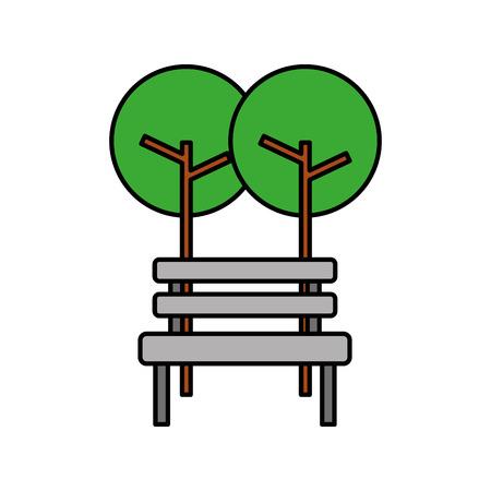 Illustration pour Trees with bench park natural scene. - image libre de droit