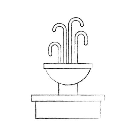 Ilustración de fountain with water splash element vector illustration - Imagen libre de derechos