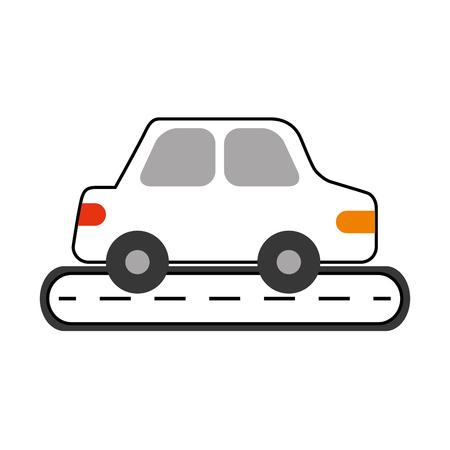 Illustration pour car sedan on street vehicle urban side view vector illustration - image libre de droit