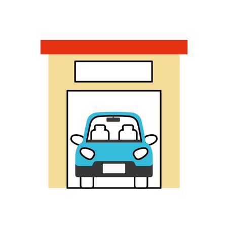 Illustration pour car inside garage repair parking icon image vector illustration - image libre de droit