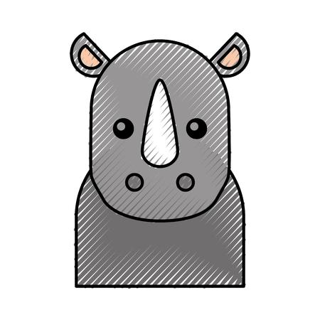 Illustration for cute cartoon rhino baby animal wild vector illustration - Royalty Free Image