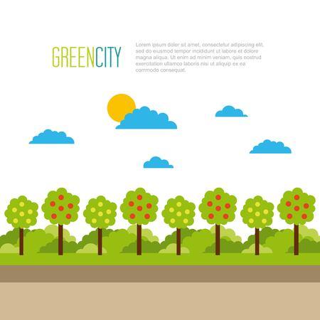 Illustration pour green city tree natural landscape environment vector illustration - image libre de droit