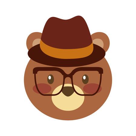Illustration pour cute bear forest animal with hat and glasses vector illustration - image libre de droit