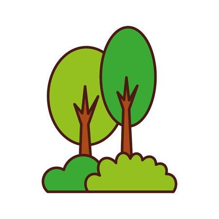 Illustration for tree forest bushes natural camping foliage plant vector illustration - Royalty Free Image