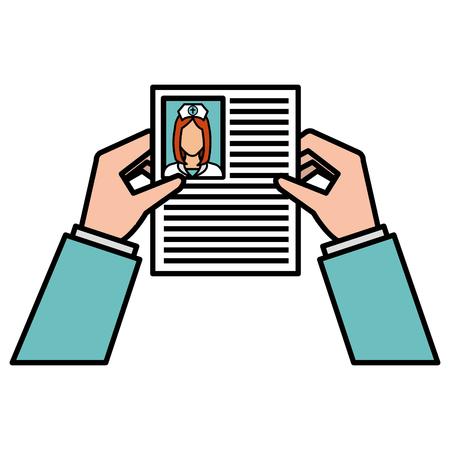 Ilustración de hands human with doctor curriculum isolated icon vector illustration design - Imagen libre de derechos