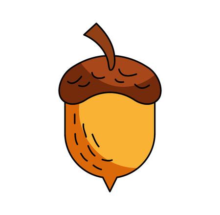 Illustration pour acorn oak nut tree fruit forest on the white background vector illustration - image libre de droit