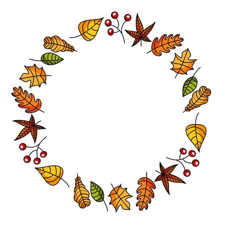 Illustration pour wreath of autumn leaves and fruit beautiful round vector illustration - image libre de droit
