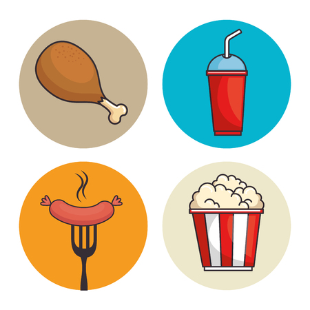 Ilustración de set of fast food vector illustration graphic design - Imagen libre de derechos