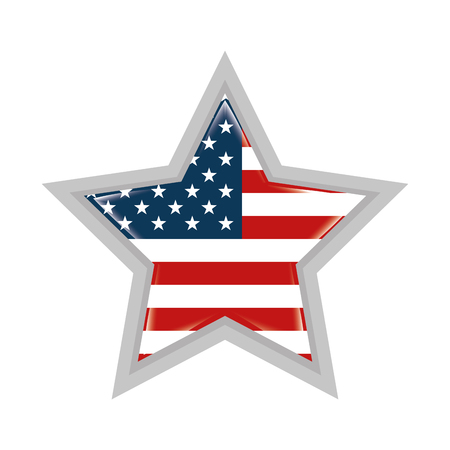 Illustration pour star with united states of america flag - image libre de droit