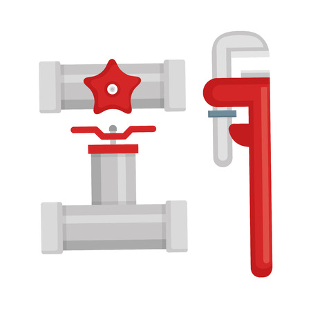 Illustration for plumbing line tools set icons vector illustration design - Royalty Free Image