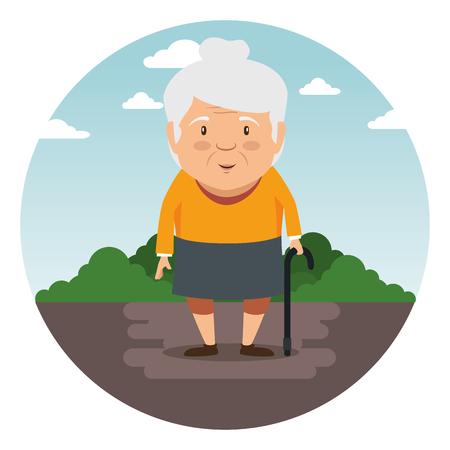 Ilustración de happy grandmother cartoon vector illustration graphic design - Imagen libre de derechos