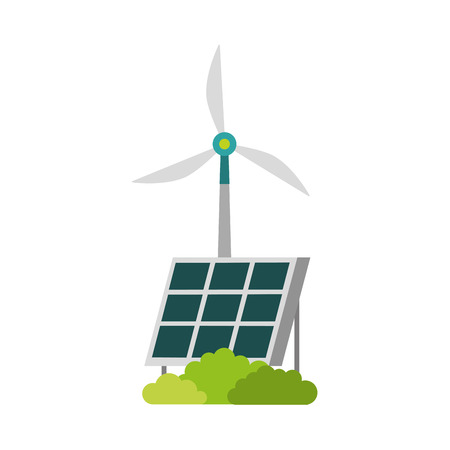 Illustration for alternative sources of energy renewable windmills and solar panel vector illustration - Royalty Free Image
