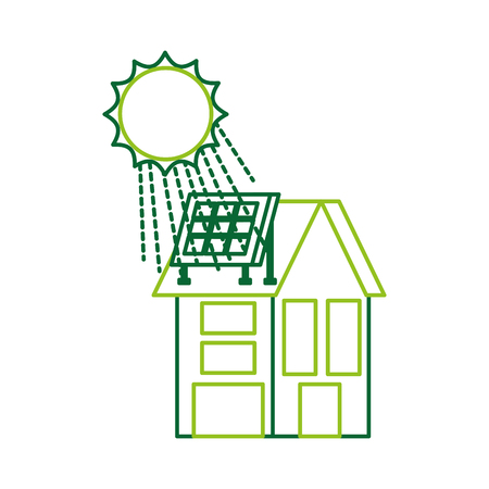 Illustration for house with solar roof panels for real estate vector illustration - Royalty Free Image