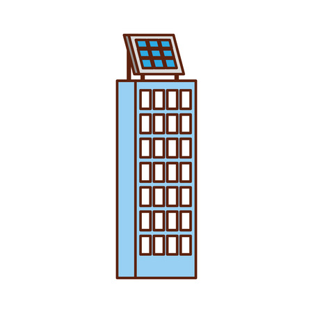 Ilustración de green energy urban ecology nature house or business building with solar panel vector illustration - Imagen libre de derechos