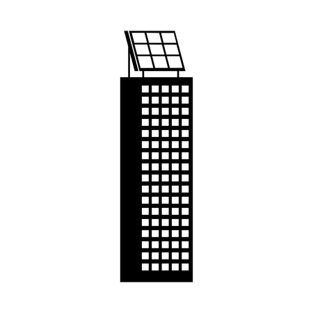 Illustration pour green energy urban ecology nature house or business building with solar panel vector illustration - image libre de droit