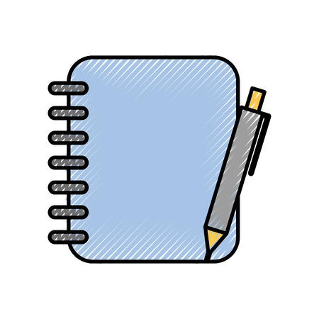 Illustration pour spiral notebook with pen office supplies vector illustration - image libre de droit