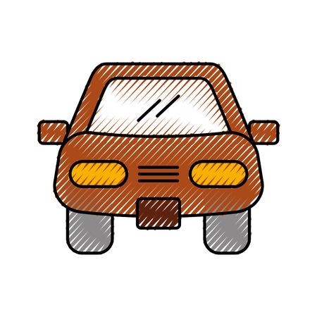 Illustration pour cartoon car vehicle transport front view icon vector illustration - image libre de droit