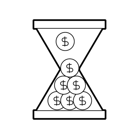 Ilustración de business glass clock with money dollar coins time vector illustration - Imagen libre de derechos