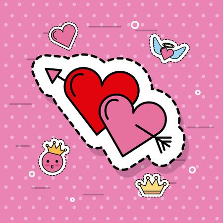 Illustration for two hearts pierced together by arrow lovely romantic cute vector illustration - Royalty Free Image
