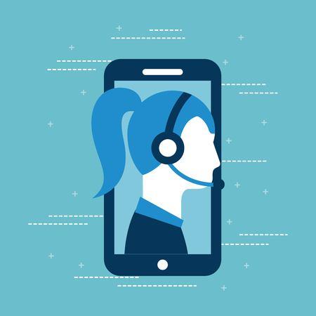 Ilustración de customer service call center operator wearing headphone vector illustration - Imagen libre de derechos