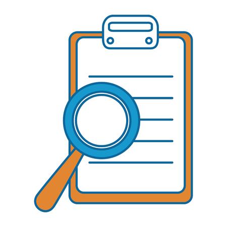 Illustration pour checklist clipboard with magnifying glass vector illustration design - image libre de droit