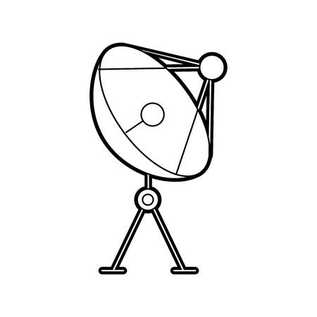 Ilustración de Radar dish antenna for broadcast communication vector illustration. - Imagen libre de derechos
