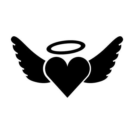 Illustration for romantic heart love wings valentine tattoo vector illustration - Royalty Free Image