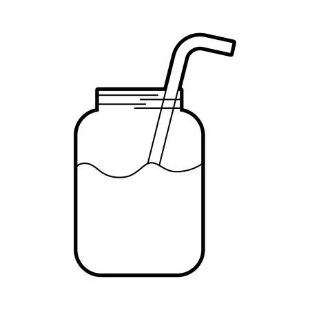 Ilustración de glass jar of juice with straw beverage fresh vector illustration - Imagen libre de derechos