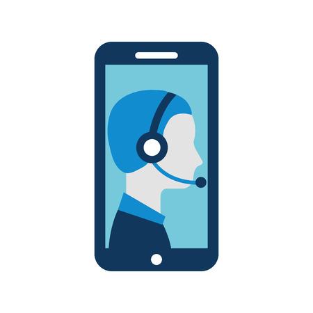 Ilustración de contact support customer service smartphone online specialist vector illustration - Imagen libre de derechos