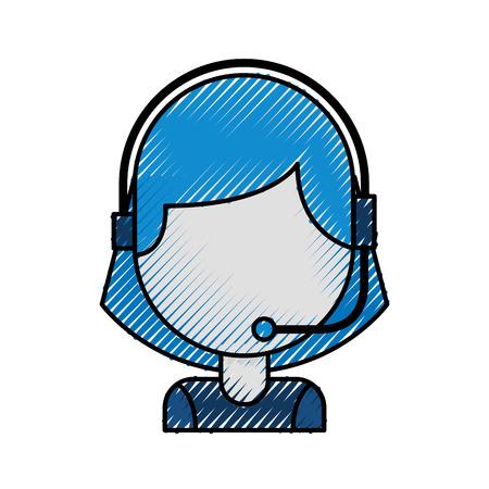 Ilustración de portrait of customer support operator call center worker with headset vector illustration - Imagen libre de derechos
