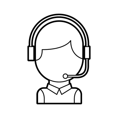 Illustration pour call center operator with phone headset vector illustration - image libre de droit