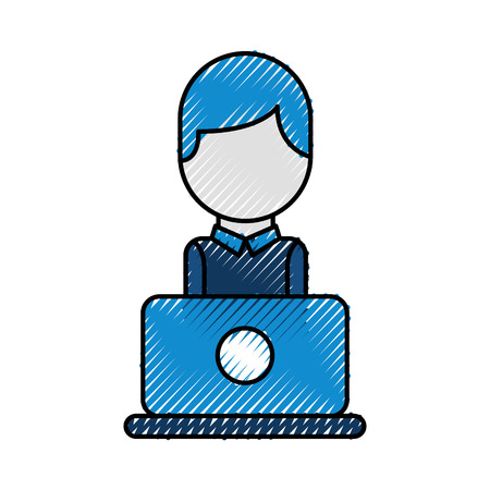 Illustration for operator of call center office working in headphones with mic at her laptop computer vector illustration - Royalty Free Image