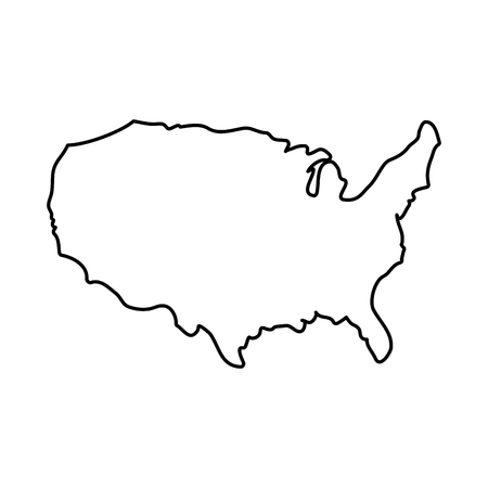 Illustration for United states map silhouette icon vector illustration graphic design - Royalty Free Image