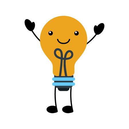 Ilustración de kawaii bulb light idea creativity cartoon vector illustration - Imagen libre de derechos