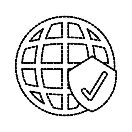 Ilustración de global safety checkmark shield protection information sign vector illustration - Imagen libre de derechos