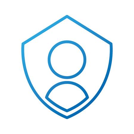 Ilustración de privacy icon shield with person symbol protection authentication security vector illustration - Imagen libre de derechos