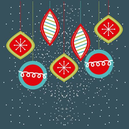 Illustration for Christmas balls hanging decoration party vector illustration - Royalty Free Image