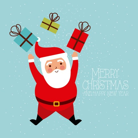 Illustration pour merry christmas and happy new year funny santa gifts vector illustration - image libre de droit