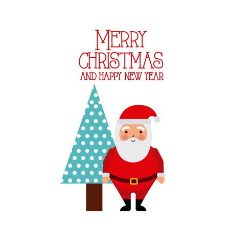 Illustration for Merry christmas and happy new year santa and tree white background vector illustration - Royalty Free Image